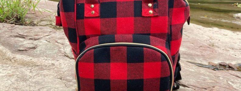 red and black plaid diaper bag